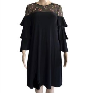 Gabby Skye black dress with floral mesh top